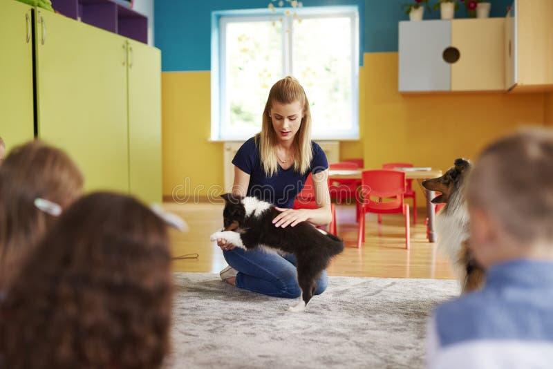 Terapeut och hennes hund som har ett möte royaltyfria foton
