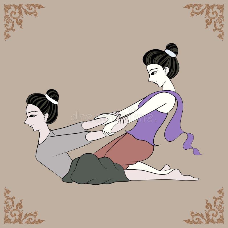 Terapeuta tailandés del masaje y marco tailandés del arte stock de ilustración