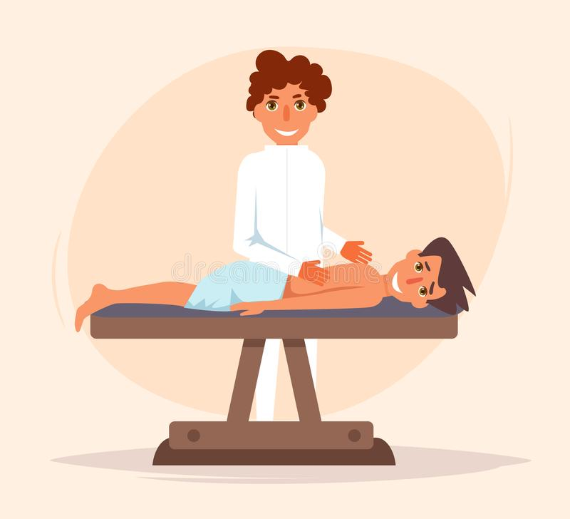 terapeutisk massage kiropraktor stock illustrationer