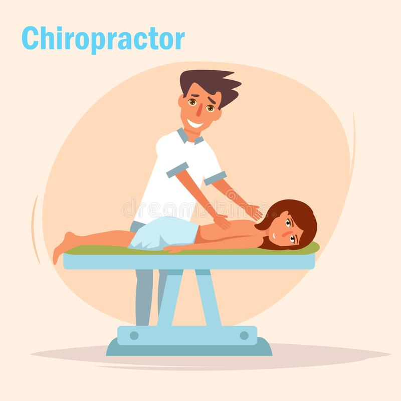 terapeutisk massage kiropraktor stock illustrationer