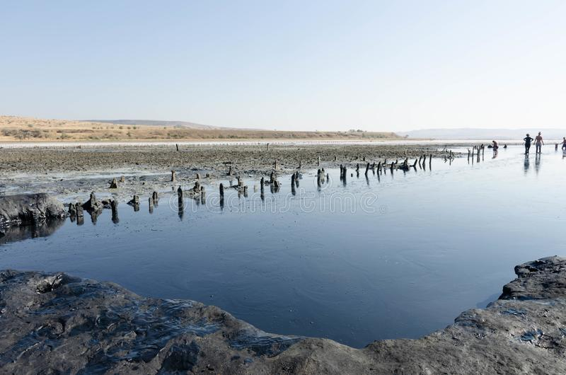 Terapeutisk sjö Chokrak för Crimean svart gyttja fotografering för bildbyråer