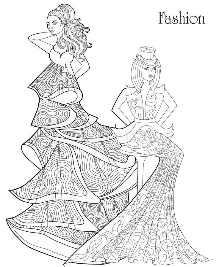 Jogo Ilustracao Da Forma Meninas Em Vestidos Longos Ilustracao Do