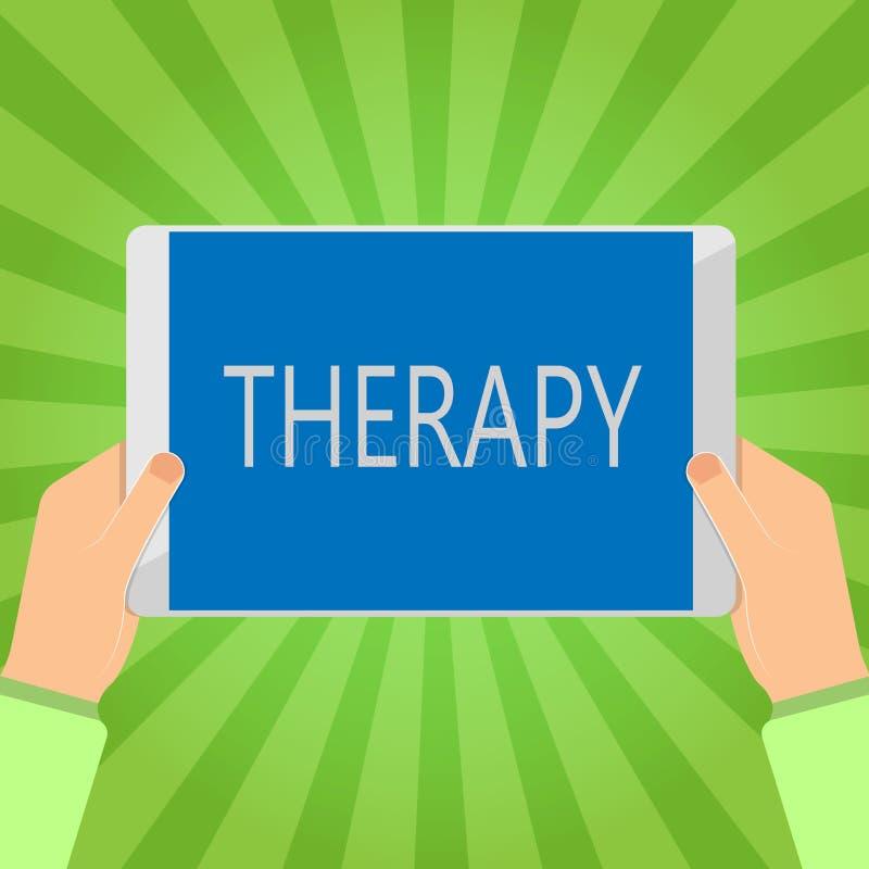 Terapia da escrita do texto da escrita O tratamento do significado do conceito pretendeu aliviar ou curar uns cuidados médicos da ilustração do vetor