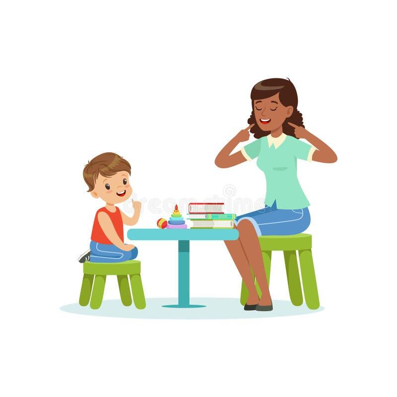Terapia da fala profissional para a criança pré-escolar com o terapeuta no jardim de infância Vetor liso isolado ilustração stock