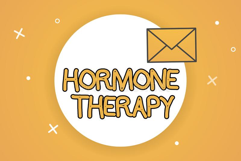 Terapia da hormona do texto da escrita Uso do significado do conceito das hormonas no tratamento de sintomas menopáusicos ilustração do vetor