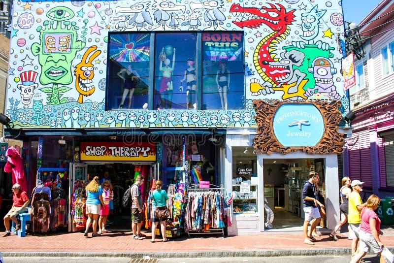 Terapia da loja, rua comercial, Provincetown, miliampère imagem de stock