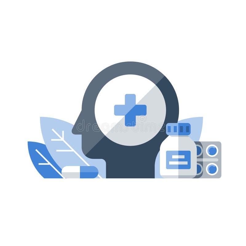 Terapia de la medicación, farmacia y medicina, drogas médicas, cápsula de los antibióticos, remedio del dolor de cabeza, servicio libre illustration
