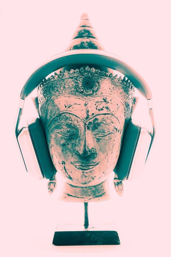 Terapia de música espiritual Imagen contemporánea brillante del hea de Buda fotografía de archivo