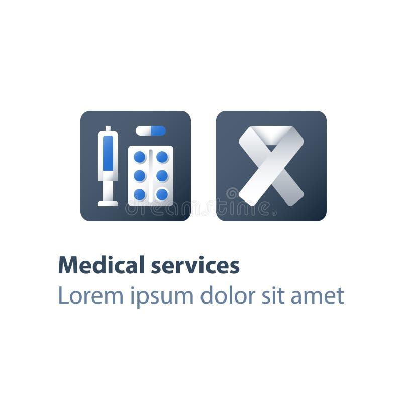 Terapia del farmaco, medicina per il trattamento del virus dell'immunodeficienza umana, droghe mediche, dose dell'iniezione della illustrazione di stock