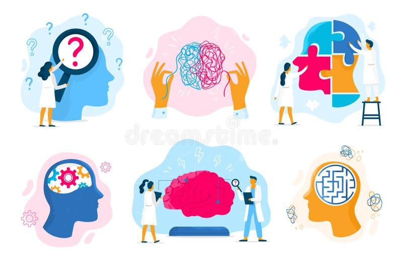 Terapia di salute mentale Stato emozionale, sanità di mentalità e vettore mentale di problema di prevenzione medica di terapie royalty illustrazione gratis