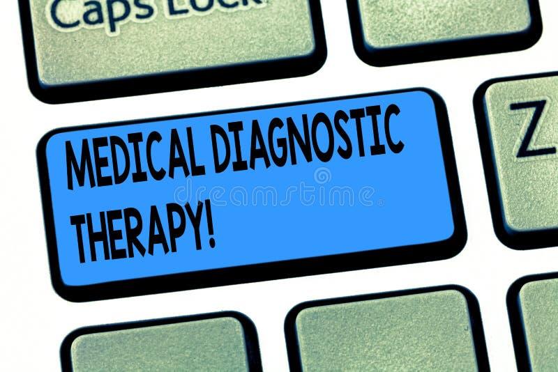 Terapia diagnóstica médica do texto da escrita da palavra O conceito do negócio para determinar a demonstração é base da doença n fotos de stock