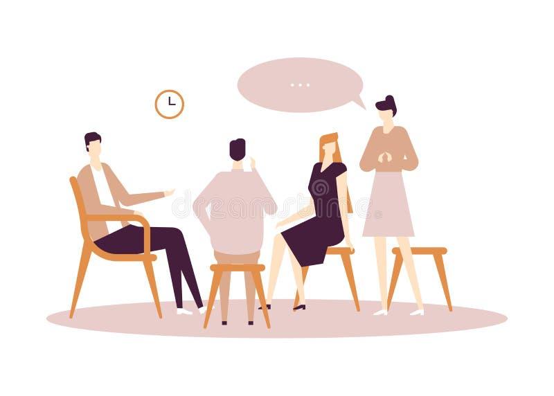 Terapia do grupo - ilustra??o lisa moderna do estilo do projeto ilustração stock