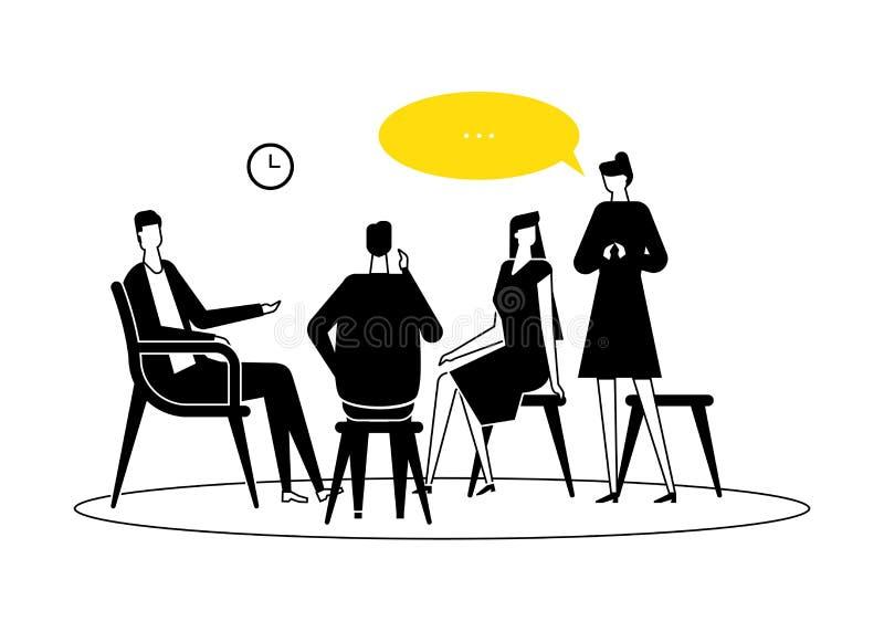 Terapia do grupo - ilustra??o lisa moderna do estilo do projeto ilustração royalty free