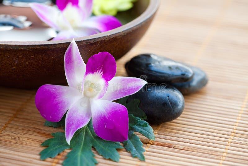 Terapia dos termas com orquídeas e pedras imagem de stock