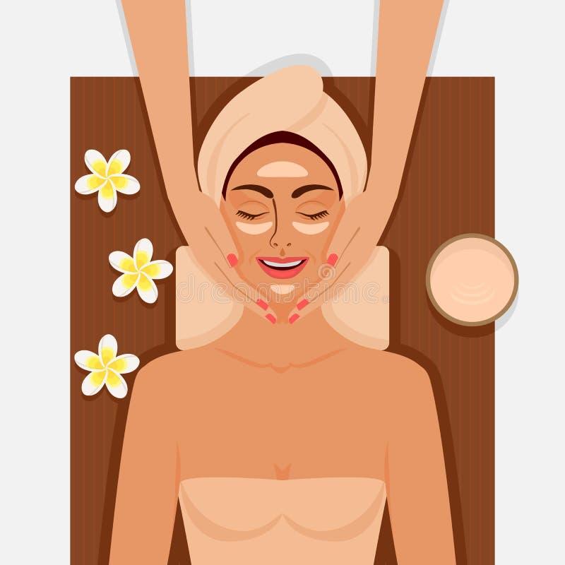 Terapia dos termas Menina que obtém a massagem facial no salão de beleza dos termas ilustração stock