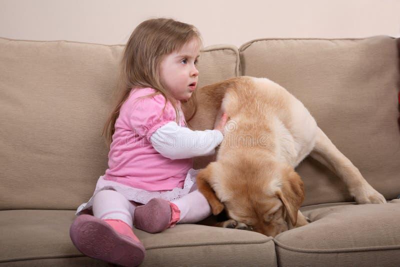 Terapia e menina do cão imagens de stock royalty free