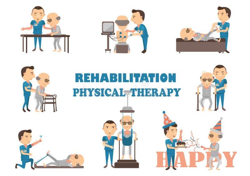 Terapia física de la rehabilitación stock de ilustración