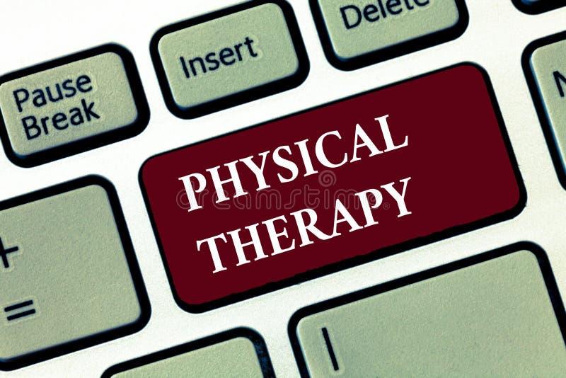 Terapia fisica del testo di scrittura di parola Concetto di affari per il trattamento o la fisioterapia analysisaging di inabilit immagini stock libere da diritti