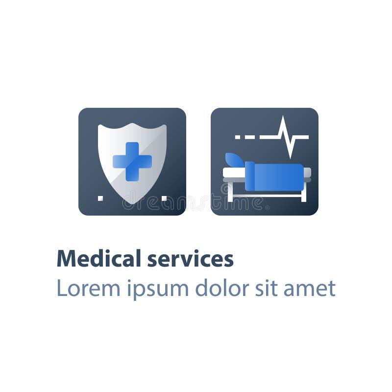 Terapia inmóvil, choza en sala, cama de hospital, atención médica, hospitalización y tratamiento, sitio de la cirugía stock de ilustración