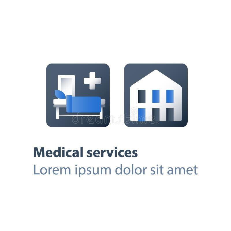 Terapia inmóvil, servicios del hospicio, atención el hospitalizado, enfermedad del palliation, asistencia médica, sala de hospita ilustración del vector