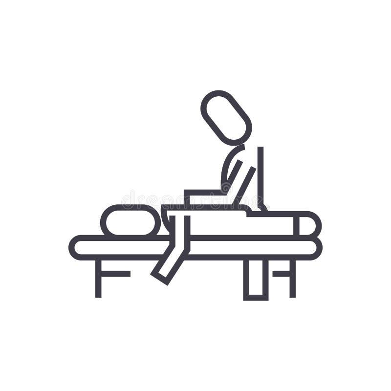 Terapia manual, masaje, balneario, línea icono, muestra, ejemplo del vector de la osteopatía en el fondo, movimientos editable stock de ilustración