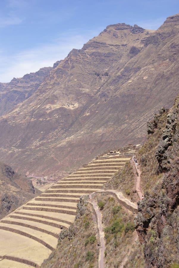 Terassenförmig angelegte Inkafelder und Ruinen des Dorfs lizenzfreie stockfotografie