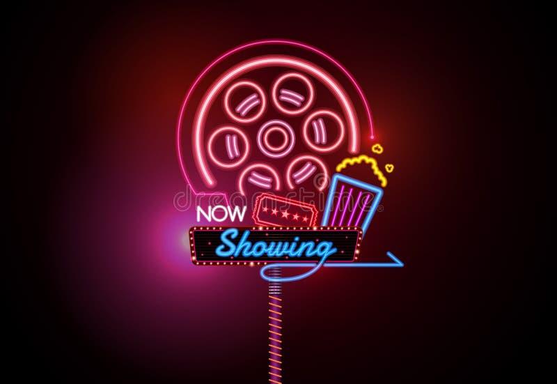 Teraz otwiera jarzyć się neonowego i żarówki kina szyldowy kinowy wektor ilustracji