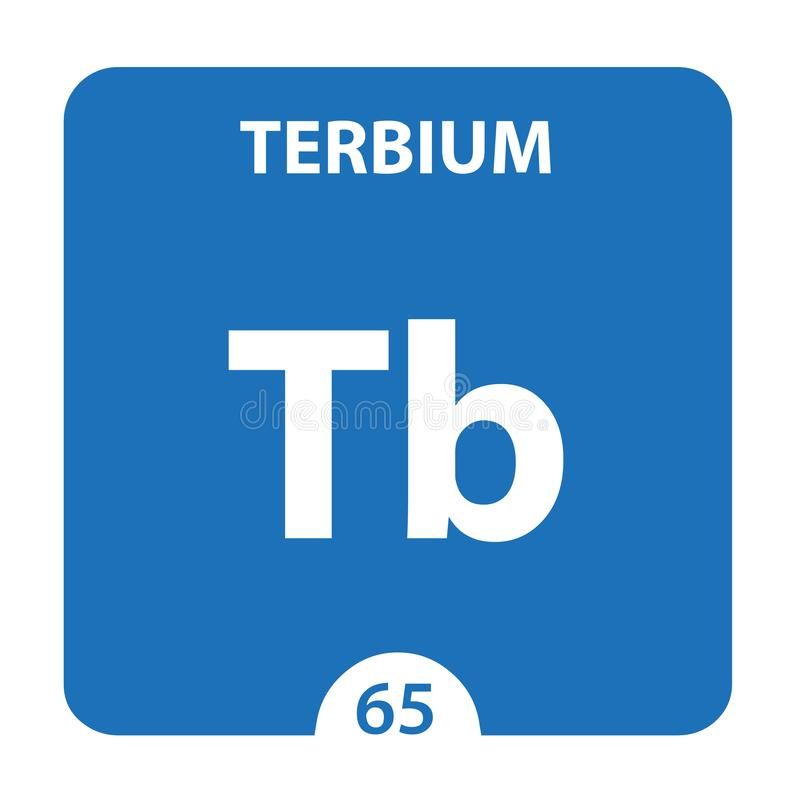 Terbium Chemical 65 elemento del cuadro periódico Fondo De Molécula Y Comunicación Terbium Chemical Tb, laboratorio y ciencia stock de ilustración