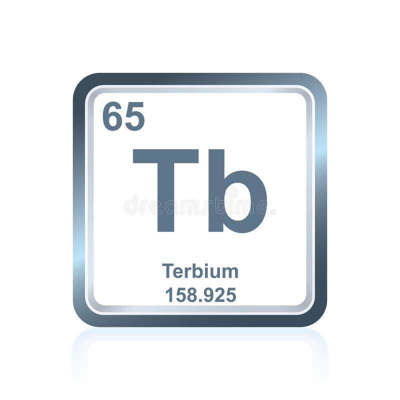 Terbium för kemisk beståndsdel från den periodiska tabellen royaltyfri illustrationer