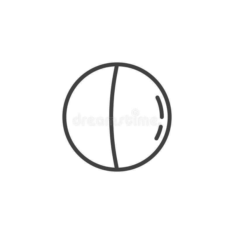 Terceira linha ícone da lua de um quarto ilustração do vetor