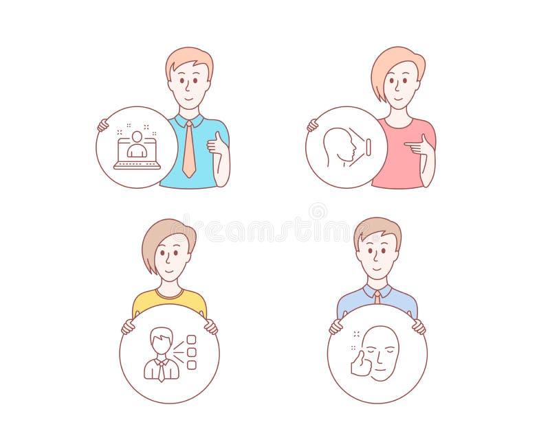 Terceiro, o melhor gerente e da identificação da cara ícones Sinal saudável da cara Vetor ilustração do vetor