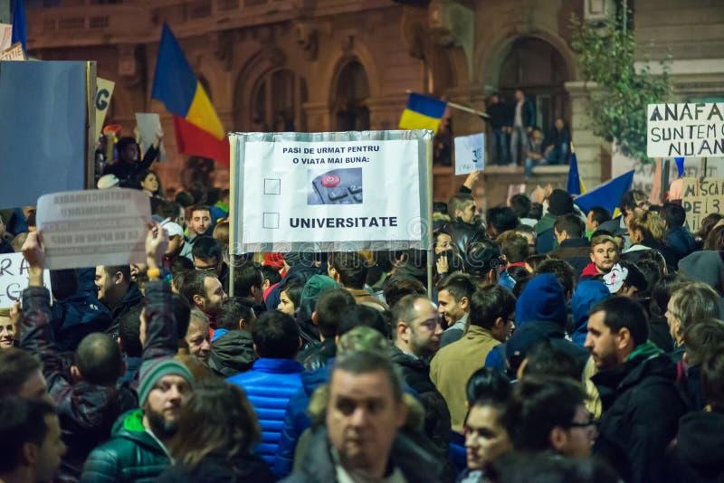 Tercer día de protesta contra el coruption y el gobierno rumano fotos de archivo libres de regalías