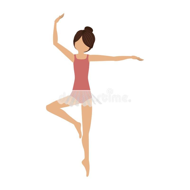Tercera posición de la pirueta colorida del bailarín ilustración del vector