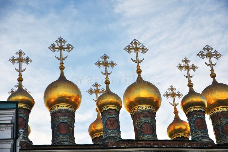 Terem churches onions. Landmarks of Moscow Kremlin. Color photo. Terem churches onions. Landmarks of Moscow Kremlin. UNESCO World Heritage Site. Color photo royalty free stock photos