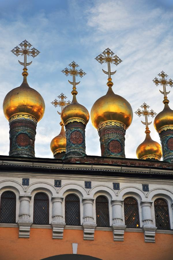 Terem churches onions. Landmarks of Moscow Kremlin. Color photo. Terem churches onions. Landmarks of Moscow Kremlin. UNESCO World Heritage Site. Color photo royalty free stock images