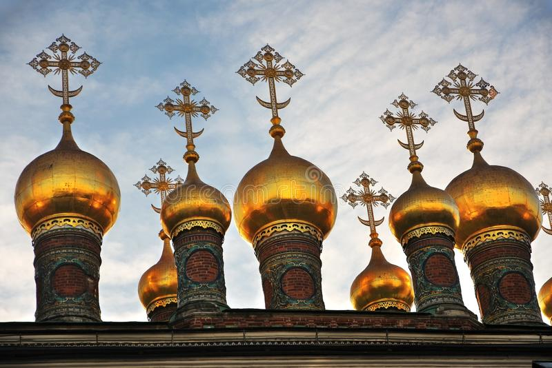 Terem churches onions. Landmarks of Moscow Kremlin. Color photo. Terem churches onions. Landmarks of Moscow Kremlin. UNESCO World Heritage Site. Color photo royalty free stock image