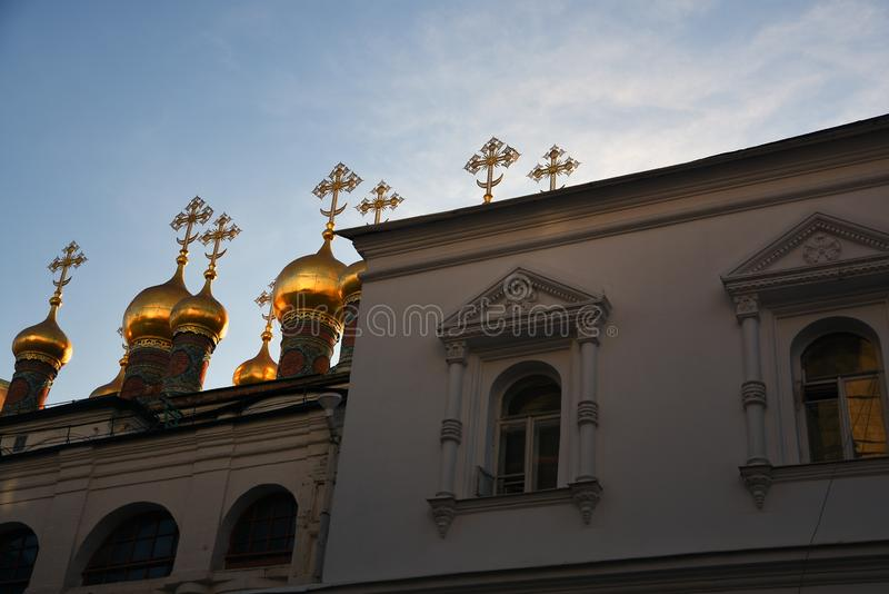 Terem churches onions. Landmarks of Moscow Kremlin. Color photo. Terem churches onions. Landmarks of Moscow Kremlin. UNESCO World Heritage Site. Color photo stock photography