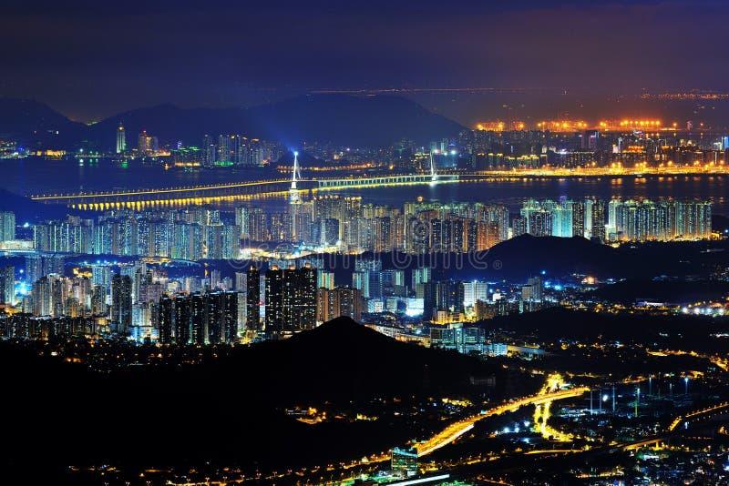 terenów Hong kong noc widok zachodni fotografia royalty free