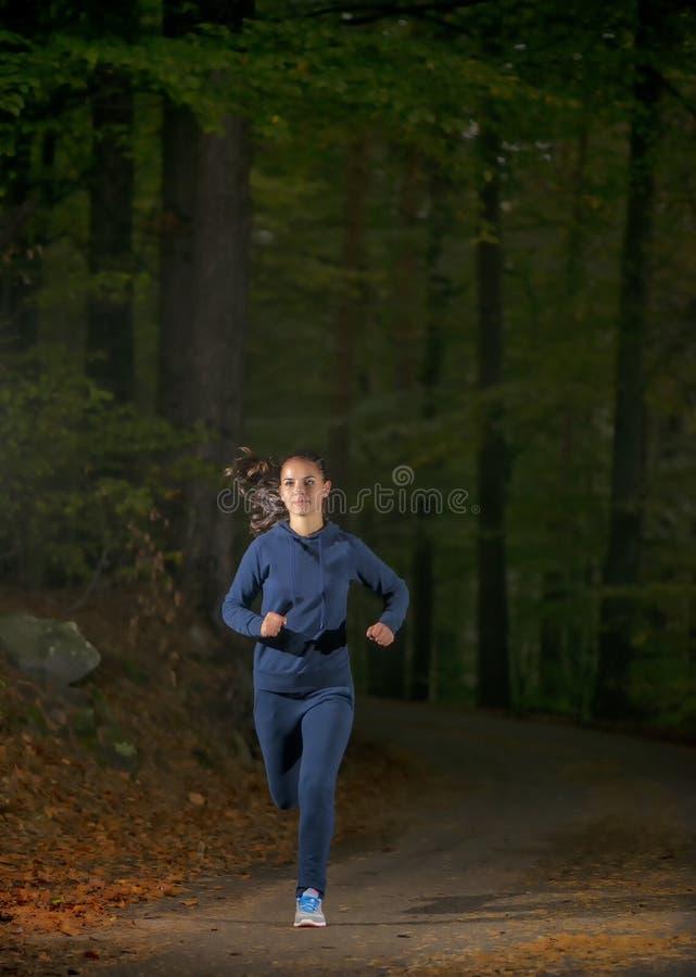 terenu pojęcia wytrzymałość target4904_0_ sprawności fizycznej lasowego zdrowego styl życia maratonu bieg śladu stażowej kobiety  obraz royalty free