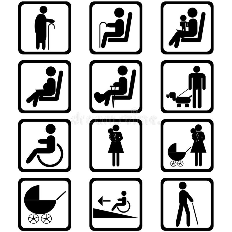 terenu priorytetu miejsca siedzące znaki ilustracji