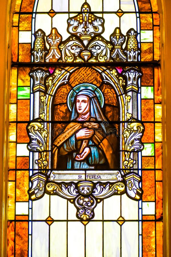 Saint Teresa Stained Glass Window royalty free stock images