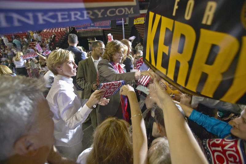 Teresa Heinz Kerry interacts with crowd of supporters at the Thomas Mack Center at UNLV, Las Vegas, NV stock image