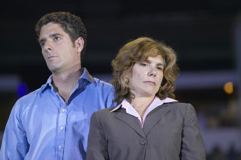 Teresa Heinz Kerry and son at the Thomas Mack Center at UNLV, Las Vegas, NV royalty free stock photography