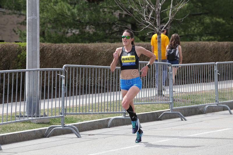 Teresa McWalters USA races in the Boston Marathon coming in 15th with a time of 2:36:30 on April 17, 2017 royalty free stock photo