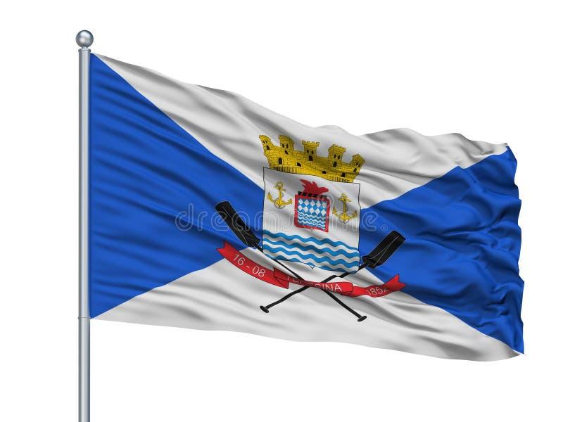 Teresina City Flag On Flagpole, el Brasil, aislado en el fondo blanco stock de ilustración