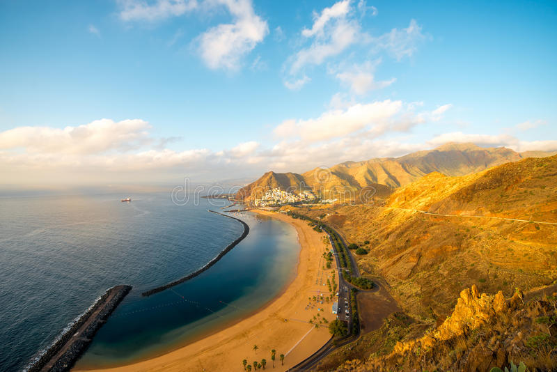 Teresitas beach in Santa Cruz de Tenerife. Aerial view on Teresitas beach near Santa Cruz de Tenerife on Canary islands, Spain stock image