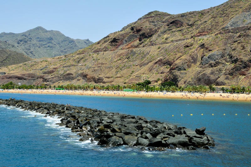 Teresitas Beach in Tenerife, Canary Islands, Spain. A view of Teresitas Beach in Tenerife, Canary Islands, Spain royalty free stock images