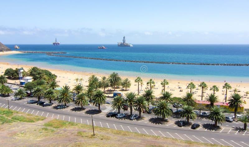 Teresitas-Strand nahe Santa Cruz, Teneriffa, Kanarische Inseln, Spanien stockbild