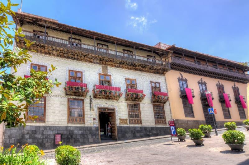 Teresitasstrand dichtbij Santa Cruz, Tenerife, Canarische Eilanden, SpainHouse van de Balkons La Casa DE los Balcones, La Orotava stock afbeeldingen