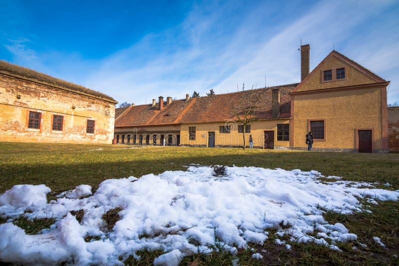 Terezin纪念品是使用作为集中营在WW的中世纪军事堡垒 库存图片
